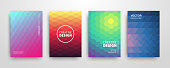 Modern summer futuristic abstract geometric covers set. Minimal mosaic colorful trendy templates design. Cool gradient  shapes. Poster background composition. Vector illustration.