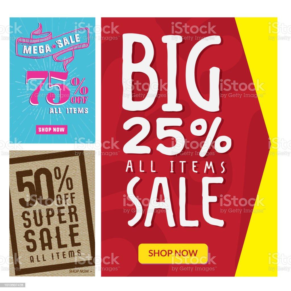 Venda de verão moderna Banner e Flyer anúncios definir ilustração - ilustração de arte em vetor
