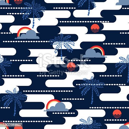 Modern summer vibes of geometric ocean ,sea,sun, plam tree ,sky and rainbow seamless pattern vector EPS10,Design for fashion , fabric, textile, wallpaper, cover, web , wrapping and all prints