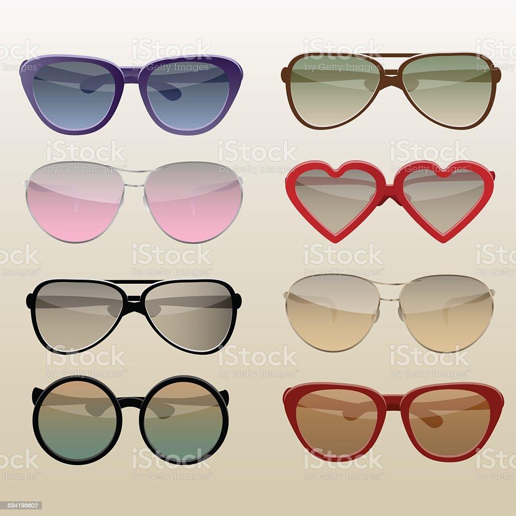 Modern sunglasses set vector art illustration