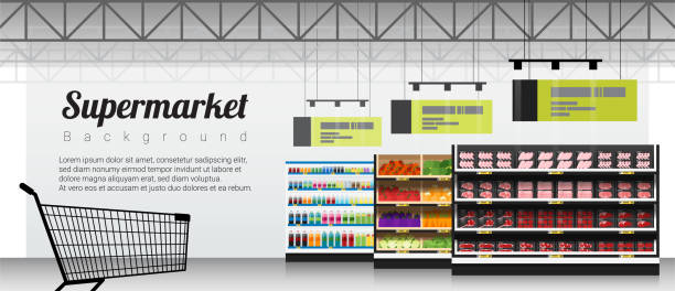 Modern supermarket with products and shopping cart background , vector , illustration Modern supermarket with products and shopping cart background , vector , illustration grocery aisle stock illustrations