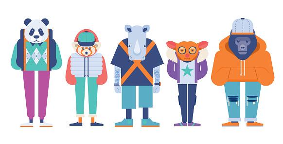 modern symmetrical vector illustration of 5 dressed endangered animal set