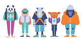 Modern symmetrical vector illustration of 5 dressed endangered animal set.