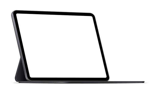 Modern tablet computer stand with blank screen isolated on white background Modern tablet computer stand with blank screen isolated on white background - side view. Vector illustration ipad stock illustrations