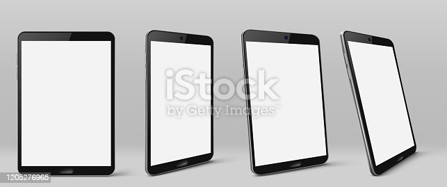 Tablet computer with white screen and black frame. Vector realistic mockup of modern smart gadget with blank digital display front and perspective view isolated on gray background