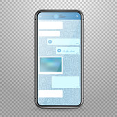 Modern tablet smartphone vector mockup with messenger application template