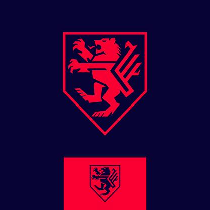 modern tech heraldic lion coat of arms vector icon