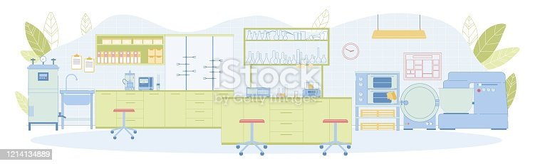 Modern Vector Technological Laboratory Empty Interior with Funnel, Washbasin, Wall Mounted Furniture, Mixer, Incubator, Scales, Thermostat, Concentration Meter, Measurement Analysis, Glassware