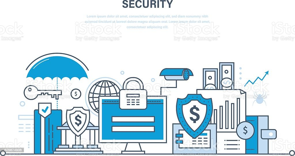 Modern technologies, security and data protection, payment  guarantee, finance. vector art illustration