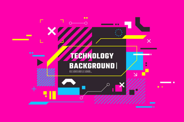 Modern technology colorful background. Abstract high tech banner with place for text. Digital screen with HUD elements. Futuristic glitch illustration. Use for t-shirt design, club poster. vector art illustration
