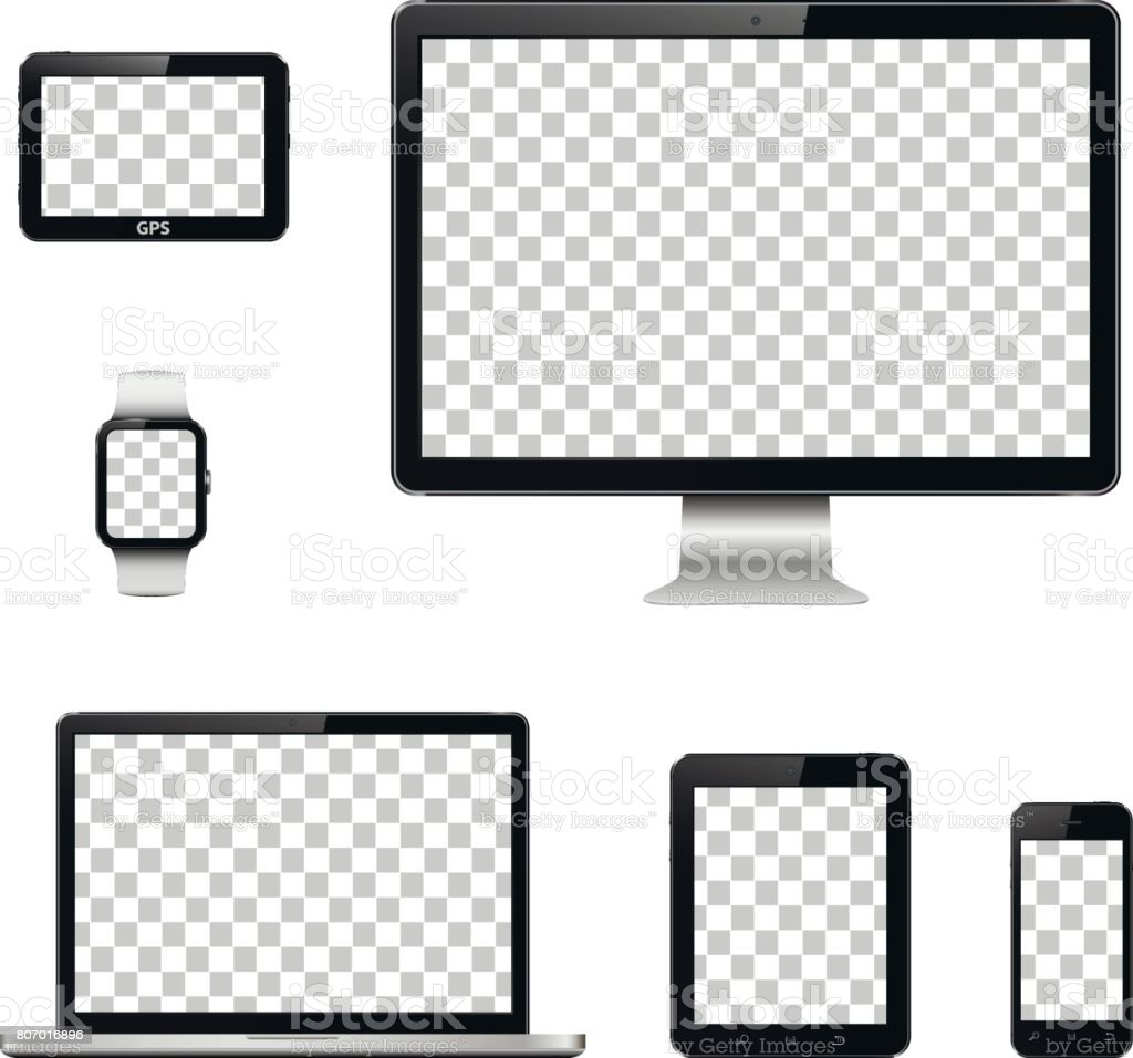 Modern technology devices with transparent wallpaper screen isolated vector art illustration