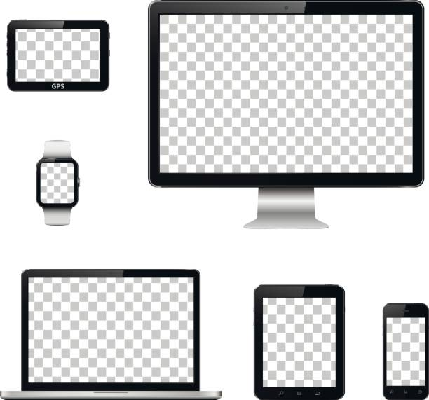 Dispositifs de technologie moderne avec écran transparent fond isolé - Illustration vectorielle
