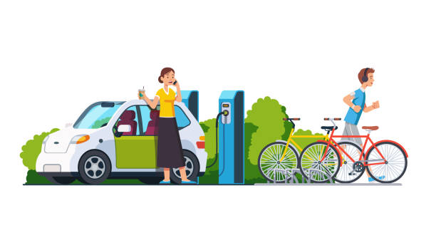 Modern technology environment care concept. Sporty man jogging. Smiling woman charging electric car at recharging power station charger. Bikes standing on bicycle parking. Flat isolated vector Smiling woman charging electric car at recharging power station charger. Sporty man jogging. Bikes standing on bicycle parking. Modern technology environment care concept. Flat vector illustration electric vehicle charging station stock illustrations