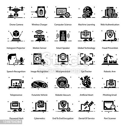 istock Modern Technology glyph Icons Pack 1249754284
