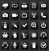 Modern technology icon set. This 100% royalty free vector illustration is featuring the square button with a drop shadow and a reflection. The main icon is depicted in white.