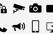 Modern technology icon set. This 100% royalty free vector illustration is featuring the square button and the main icon is depicted in black and in white with a black icon on it.