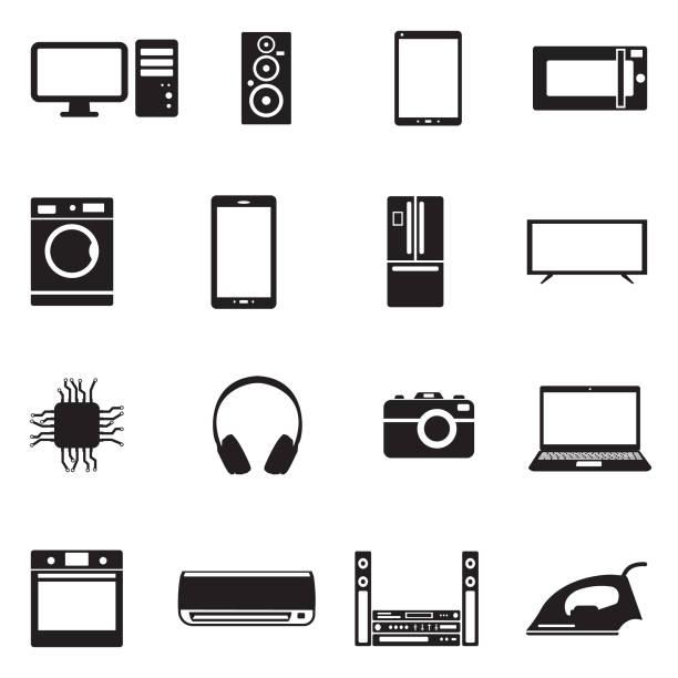 moderne technologie icons. schwarze flache bauweise. vektor-illustration. - haushaltsmaschine stock-grafiken, -clipart, -cartoons und -symbole