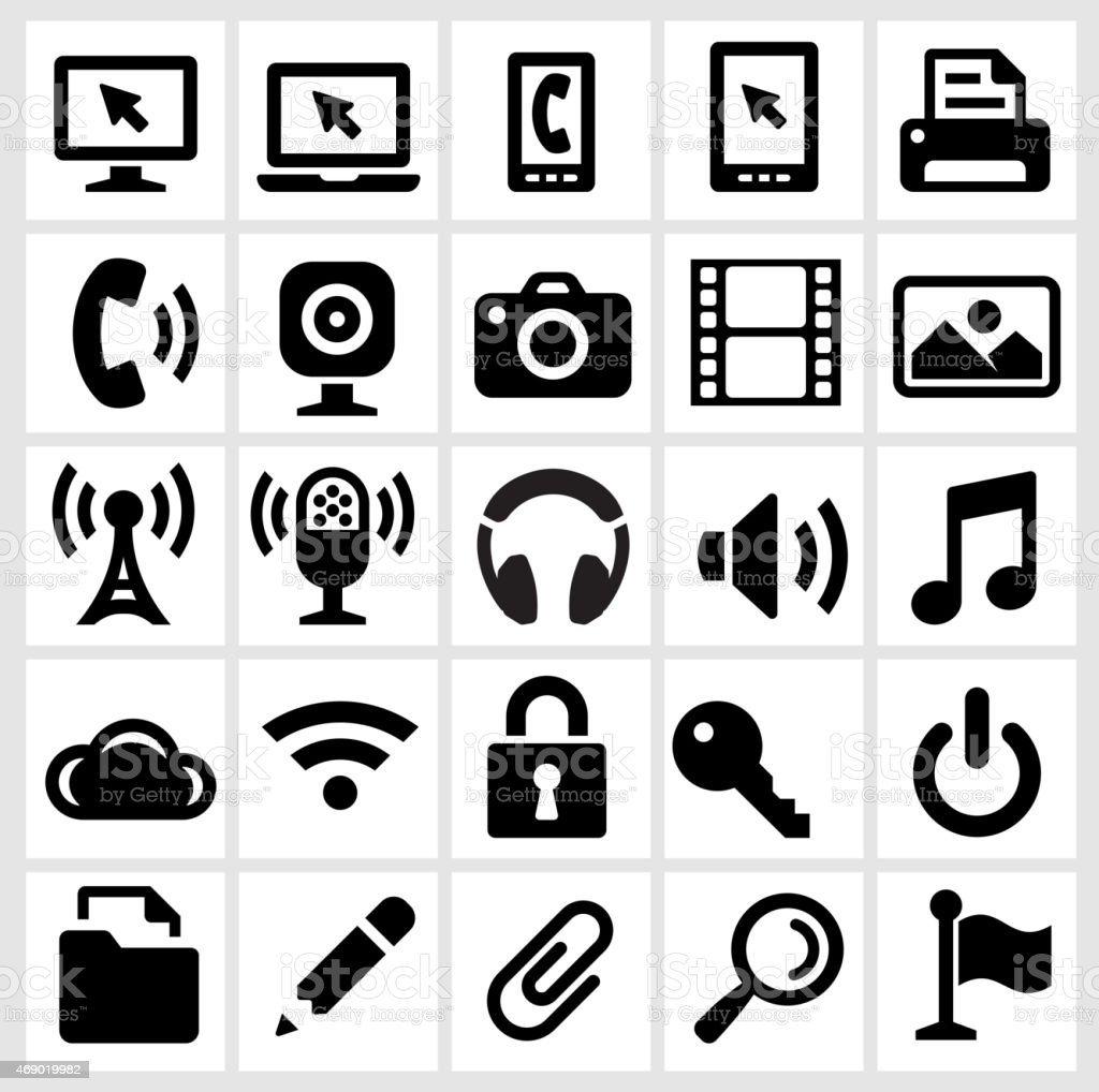 Modern Technology Icons on White Background vector art illustration