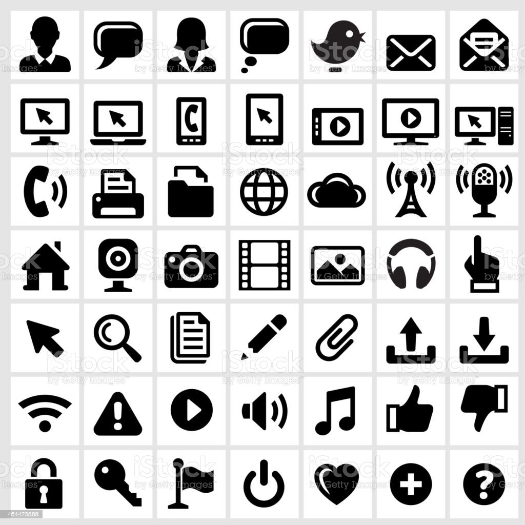 Modern Technology Internet Social Communications royalty free vector interface icons vector art illustration
