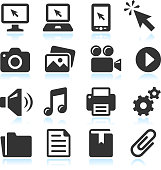 Modern Technology royalty-free vector arts black & white icon set