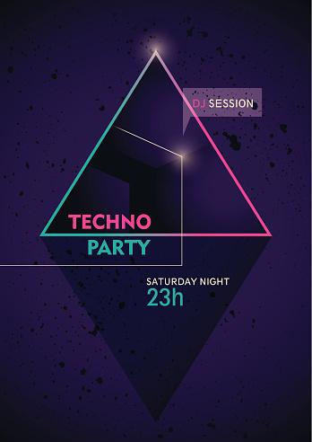 Modern tecno party poster.