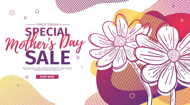 modern template design for mom day banner. promotion layout for mother's day offer with flower decoration. line illustration  floral blossom with abstract geometric shape for sale. vector. - mothers day stock illustrations