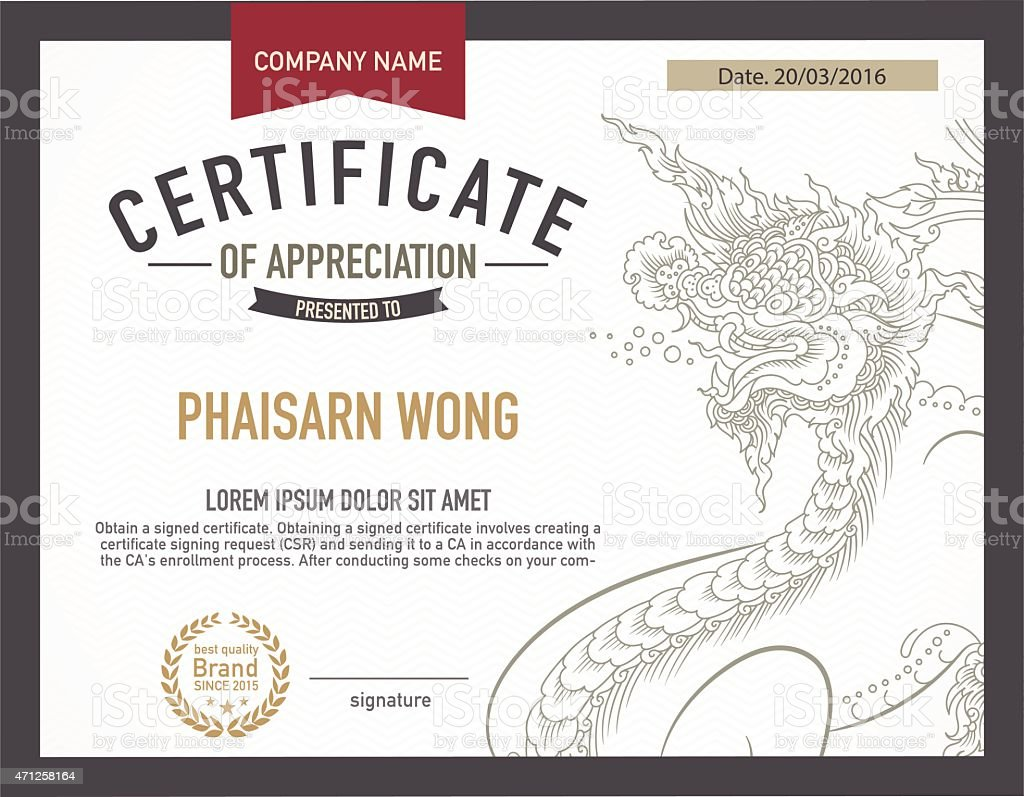 Modern Thai Art Certificate Design Template Stock Vector Art More