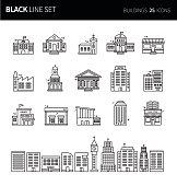 Modern thin black line icons set of buildings. Premium quality outline symbol set. Simple linear pictogram pack. Editable line series
