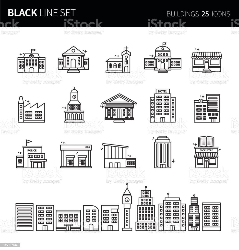 Icônes modernes mince ligne noire ensemble de bâtiments. Jeu de symboles de contour de qualité de prime. Pack de pictogramme linéaire simple. Série modifiables en ligne - Illustration vectorielle