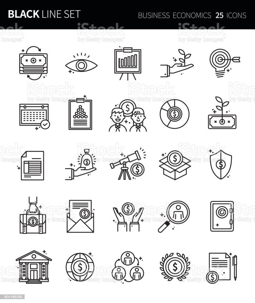 Ensemble d'icônes modernes mince ligne noire d'économie d'entreprise. Jeu de symboles de contour de qualité de prime. Pack de pictogramme linéaire simple. Série modifiables en ligne - Illustration vectorielle