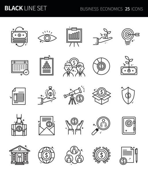 Modern thin black line icons set of business economics. Premium quality outline symbol set. Simple linear pictogram pack. Editable line series vector art illustration