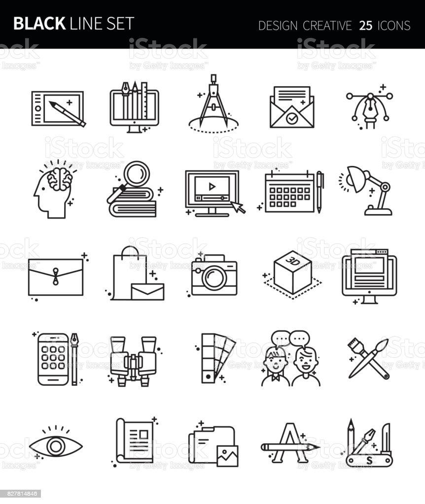 Icônes modernes mince ligne noire ensemble de conception créatives. Jeu de symboles de contour de qualité de prime. Pack de pictogramme linéaire simple. Série modifiables en ligne - Illustration vectorielle