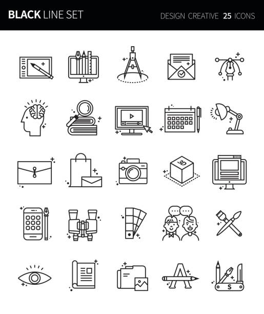 moderne dünne schwarze linie symbole set design kreativ. premium-qualität umriss symbolsatz. einfache lineare piktogramm pack. editierbare line serie - editorial stock-grafiken, -clipart, -cartoons und -symbole