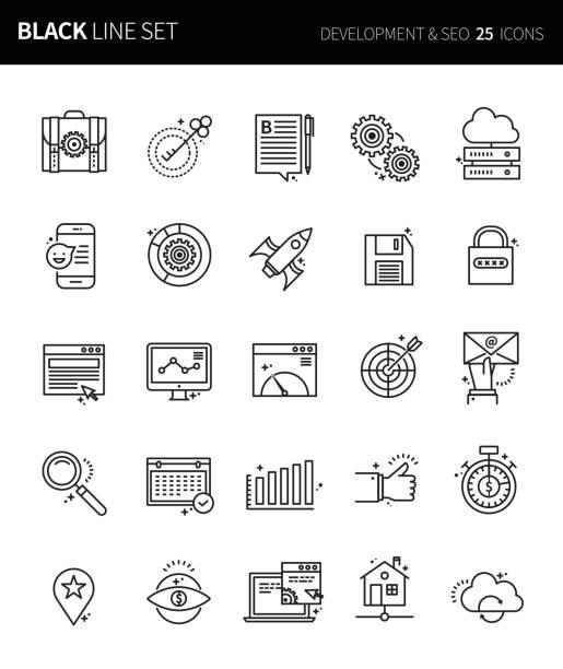 moderne dünne schwarze linie icons set entwicklung & seo. premium-qualität umriss symbolsatz. einfache lineare piktogramm pack. editierbare line serie - editorial stock-grafiken, -clipart, -cartoons und -symbole