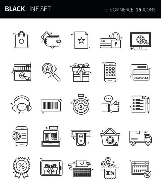 Çağdaş ince siyah çizgi Icons set e-ticaret. Premium Kalite anahat sembol kümesi. Basit doğrusal piktogram paketi. Düzenlenebilir çizgi serisi vektör sanat illüstrasyonu