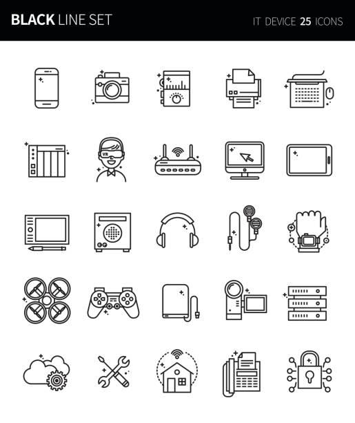 moderne dünne schwarze linie icons set it-gerät. premium-qualität umriss symbolsatz. einfache lineare piktogramm pack. editierbare line serie - editorial stock-grafiken, -clipart, -cartoons und -symbole