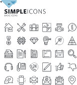 Modern thin line basic web icons