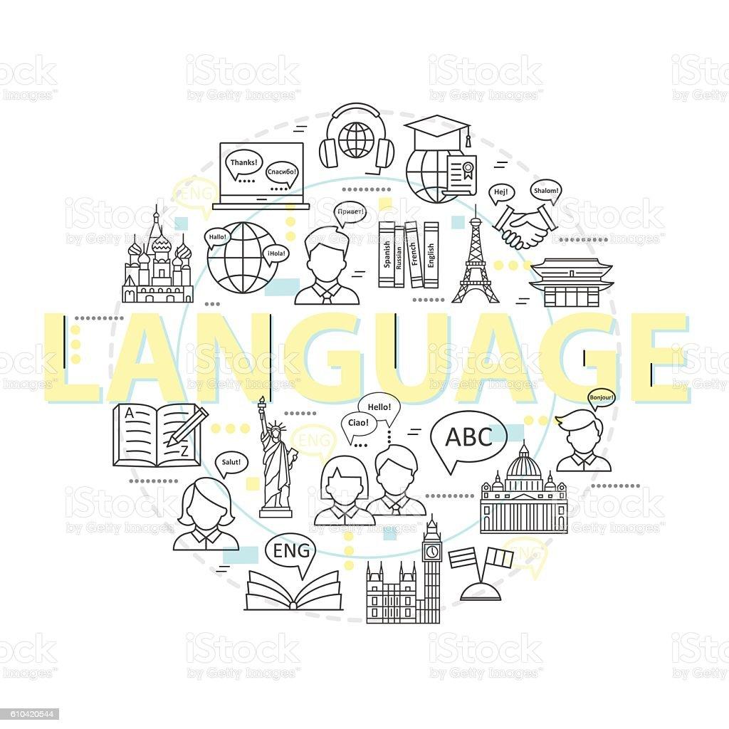 Modern thin line concepts of learning foreign languages. - ilustração de arte em vetor
