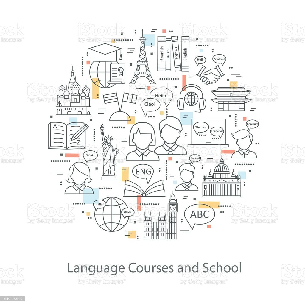 Modern thin line concepts of learning foreign languages. - Illustration vectorielle