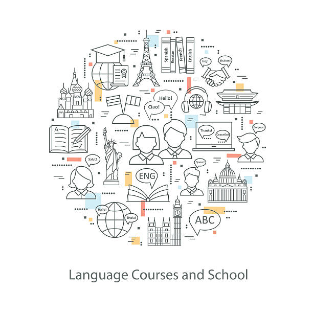 Modern thin line concepts of learning foreign languages. – Vektorgrafik
