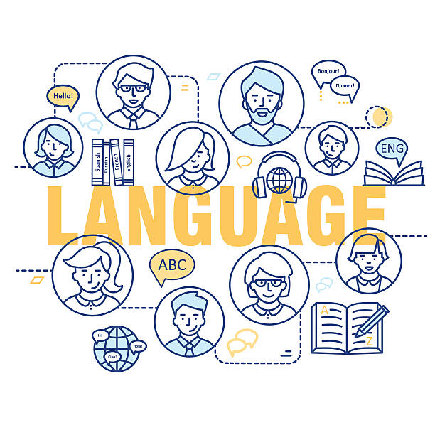 Moderno delgada línea conceptos de aprendizaje de lenguas extranjeras. - ilustración de arte vectorial