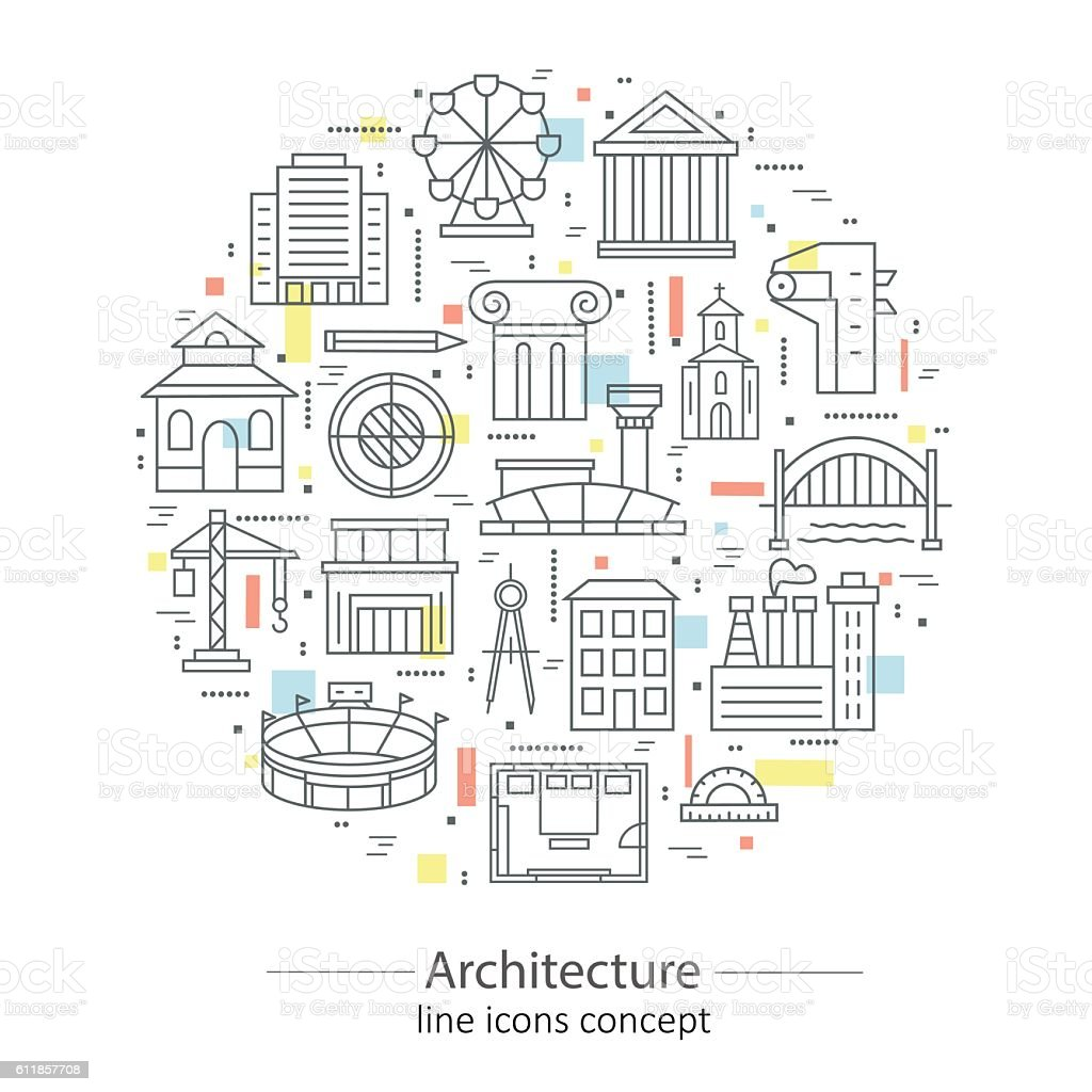 Modern Thin Line Concepts With Architecture Elements Stock Vector ...