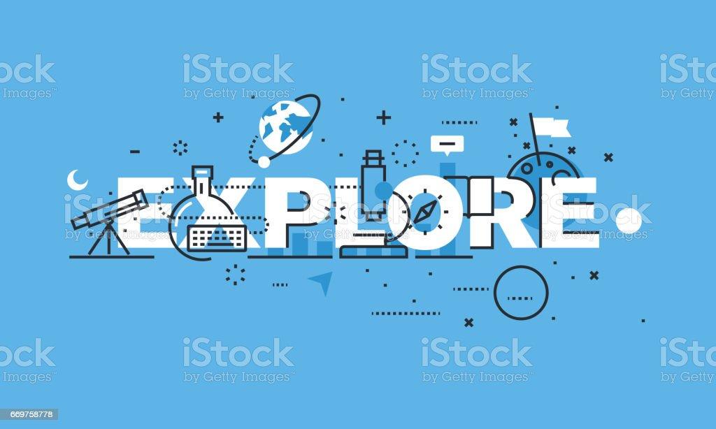 Moderne dünne Linie Design-Konzept für EXPLORE Website banner – Vektorgrafik