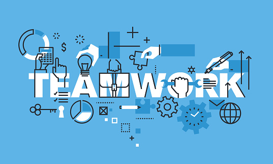 Modern thin line design concept for TEAMWORK website banner