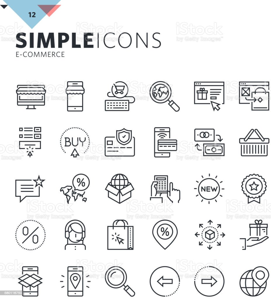 Modern thin line e-commerce web icons vector art illustration