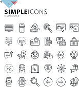 Modern thin line e-commerce web icons