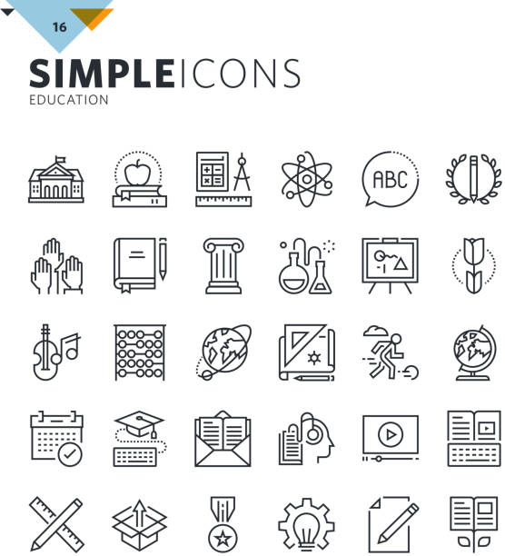 modern thin line education icons - science class stock illustrations, clip art, cartoons, & icons