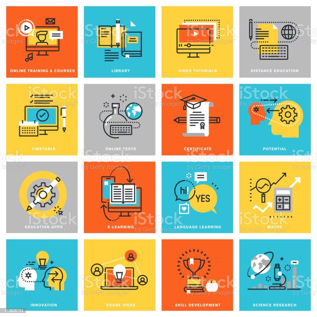 Modern thin line flat design icons for online education vector art illustration