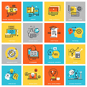 Modern thin line flat design icons for online education