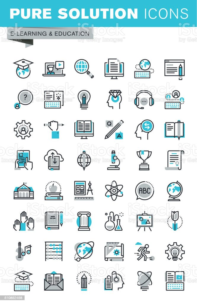 Modern thin line flat design icons set of online education vector art illustration